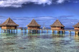 bungalow landscape summer resort atolls sea tropical nature island french polynesia beach