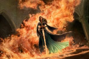 burning fantasy girl sword fantasy art artwork fire