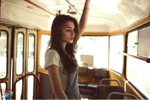 buses long hair women redhead model