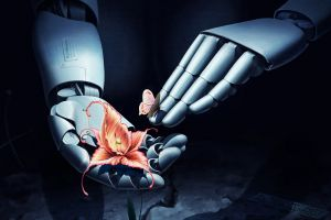 butterfly flowers hands robot technology
