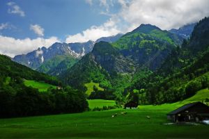 cabin clouds mountains alps cow landscape green forest grass spring nature