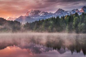 cabin mist landscape reflection lake mountains