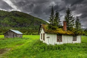 cabin overcast mountains landscape nature abandoned
