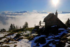 cabin snowy peak austria