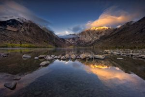 california snowy peak clouds water landscape nature reflection lake sunset calm mountains