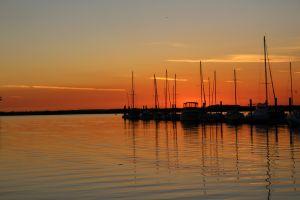 calm nature beach sunset silhouette sea boat