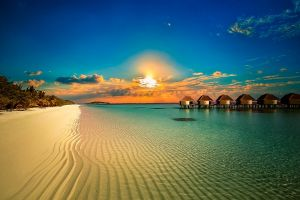 calm nature palm trees sea beach clouds sand island tropical summer bungalow landscape water sunset resort