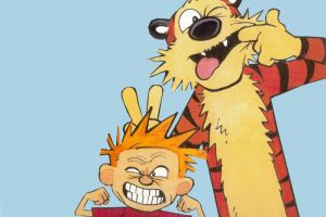 calvin and hobbes simple background cartoon