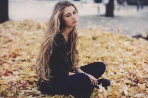 camille rochette frown brunette black sweater women blue eyes blonde