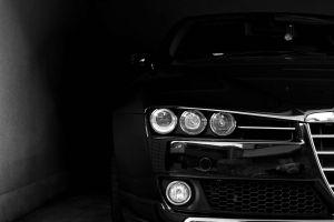 car face headlights black alfa romeo dark