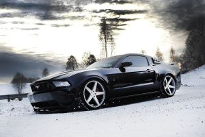car ford mustang winter snow tuning