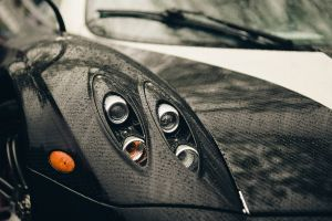 car headlights pagani rain pagani huayra closeup carbon fiber  huayra