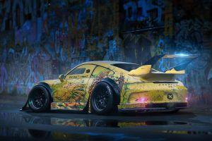 car vehicle yellow cars porsche 911 gt3 porsche