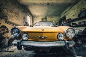 car yellow cars vehicle fiat old