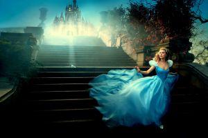 castle women fantasy girl scarlett johansson blue dress dress