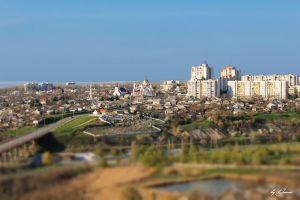 cathedral city cityscape tilt shift