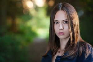 catherine timokhina women straight hair portrait blue coat brunette looking at viewer face coats