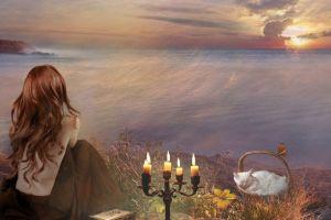 cats redhead women sea candles artwork