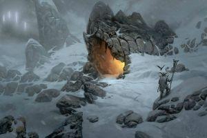 cave vikings snow fantasy art winter