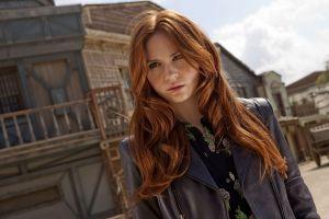 celebrity leather jackets actress redhead women karen gillan