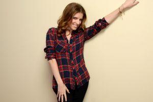 celebrity women brunette simple background actress anna kendrick plaid shirt