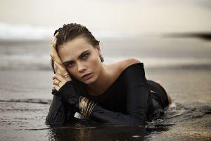 celebrity women wet clothing cara delevingne brunette wet body beach sea model face