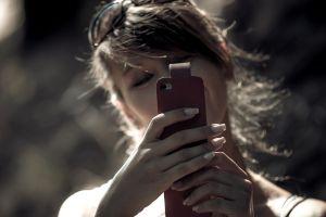 cellphone hands brunette long nails women