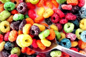 cereal colorful spoon eating food