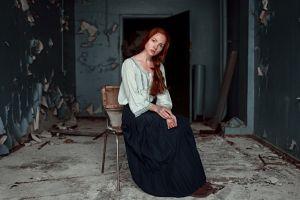 chair women georgy chernyadyev oksana butovskaya ruins freckles model