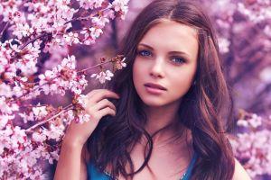 cherry blossom brunette model women face