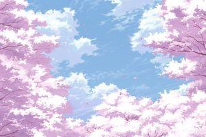 cherry blossom twigs trees sky anime plants