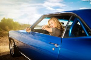 chevrolet camaro rs sitting looking at viewer women women with cars blonde