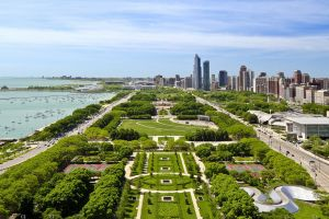 chicago grass field bird's eye view sea skyscraper park yacht usa tennis courts city trees clouds building car