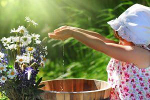 children flowers water
