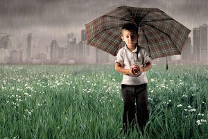 children rain cityscape