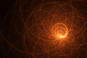 circle spiral light trails lines digital art abstract minimalism black background cgi
