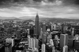 city aerial view kuala lumpur monochrome petronas towers