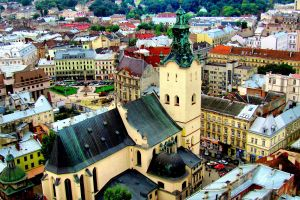 city cathedral cityscape ukraine lviv