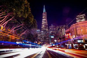 city city lights light trails night street