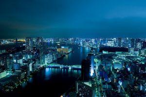 city cityscape bridge tokyo city lights night skyscraper river