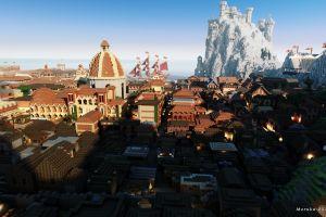 city cityscape video games minecraft