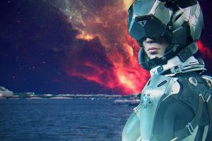 city futuristic landscape stars nebula science fiction landscape water