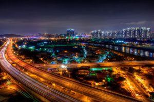 city highway night road cityscape
