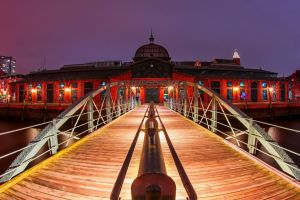 city landscape sky river lights fisheye lens water night wooden surface architecture bridge hamburg metal germany cityscape