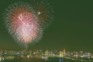 city lights bridge new year tokyo fireworks cityscape