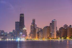 city lights cityscape chicago skyscraper city
