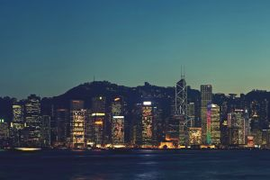 city lights dusk city hong kong cityscape mountains
