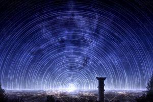 city lights fantasy art night sky digital art star trails night