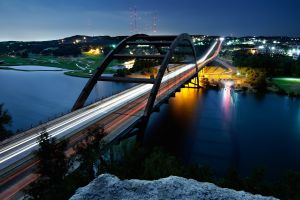 city long exposure cliff lights austin (texas) lake bridge highway nature