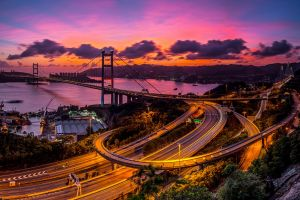 city long exposure hong kong victoria harbour highway bridge freeway street sunset